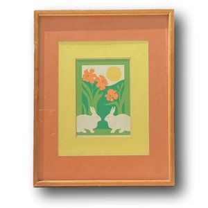Abstract Landscape Block Art of Bunny Rabbits & Orange Lilies Wood Frame